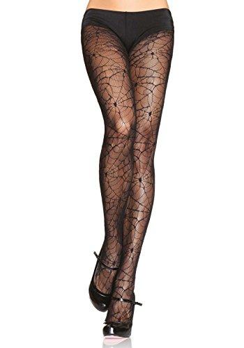 Leg Avenue 9009 - Strumpfhosen Mit Spinnennetzoptik Schwarz Damen Kostüm Halloween Fasching, Einheitsgröße (EUR 36-40)