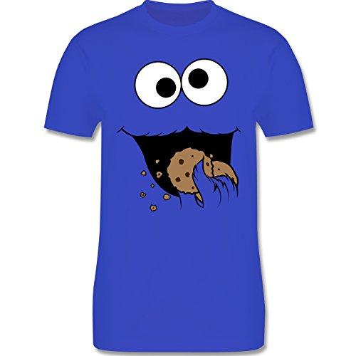 Karneval & Fasching - Keks-Monster - M - Royalblau - L190 - Herren T-Shirt Rundhals