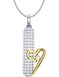 Clara Silvo White Gold Plated Sterling Silver Amy Pendant With Chain For Women And Girls