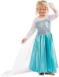 Katara - Robe d'Elsa la Reine des Neiges Frozen - robe de déguisement pour filles/ bleue turquoise avec paillettes et traîne longue - Costume de Reine des Neiges - Tailles au choix