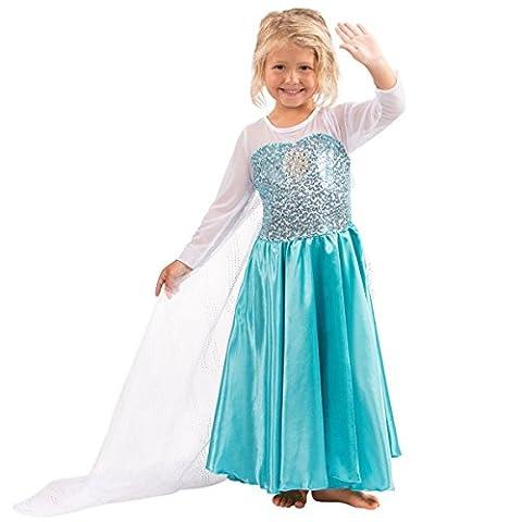 Katara E1 blau/türkises Disney Eiskönigin Elsa inspiriertes Prinzessinen-Frozen-Kleid für Mädchen als Kinder-Kostüm für Karneval, Fasching, Fastnacht, Halloween,