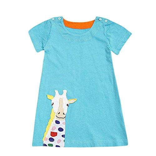 (Amlaiworld baby niedlich Tiere t-shirt kleid party locker Häschen Giraffe kleider Mädchen strand gestreift oberteile sommer Gemütlich sport top kleid für kinder, 0-5 Jahren (3 Jahren, B))