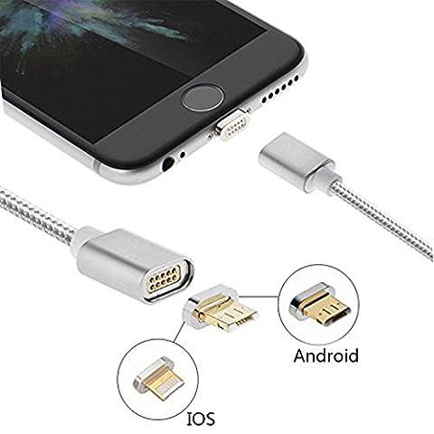 Magnet Ladekabel, Hizek 1M 2 in 1 Lightning und Micro USB in ein Adapter Nylon Kabel High Speed für iPhone 7 7Plus iPad ,Samsung, Sony, Xiaomi, LG, HTC -- Silber (Ein Adapter beide Seite Kompatibel mit IOS&Android Smartphone