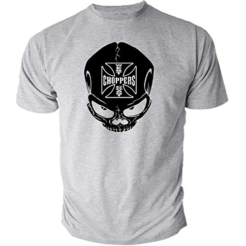c07987b37 Mens West Coast Choppers Black Skukll Logo Bike Biker Motorbike Motorcycle T -Shirt Short Sleeves