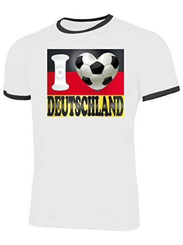 Deutschland Germany Fan t Shirt Artikel 3006 Fuss Ball Welt Ringer Tee EM 2020 WM 2022 Trikot Look Flagge Fahne Männer Herren Spieler Team XXL