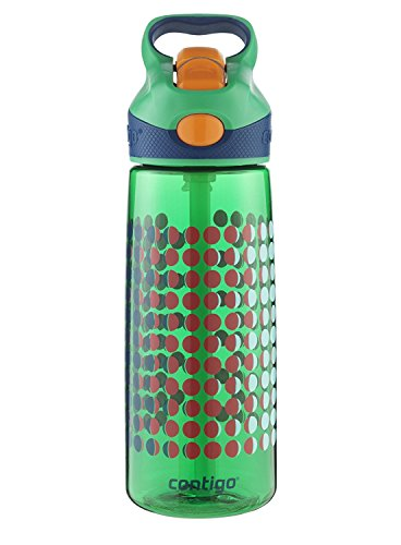 Contigo AUTOSPOUT Straw Striker Kids Water Bottle, 20 oz, India Green Pinball