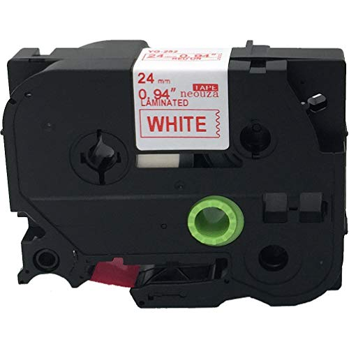 Compatibile per Brother P-Touch TZe TZ rosso su bianco Label tape 6mm 9mm 12mm 18mm 24mm 36mm all size TZe-252 24mm Red/White