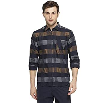 Campus Sutra Men's Cotton and Full Sleeve Checkered Casual Shirt (Blue, Grey, Olive, Small)