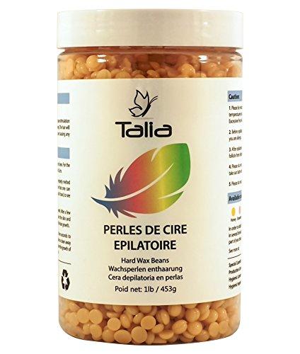 Talia® - Perles de Cire Epilatoire - Hard Wax Beans - Bouteille de 453gr - Epilation des jambes bras aisselles maillot bikini visage sourcils dos - sans bande - qualité professionnelle à domicile (Honey, 453gr)