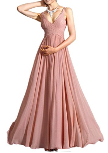 Smile YKK Femme Robe de Soirée Swing Chiffon de Marriage Uni Rose