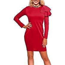 GAOLIM Womens Bodycon Vestido - Sólido, Basic,Red,Xl