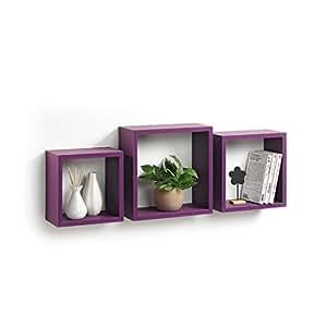 Modul'Home 6RAN789BC - Mensole a cubo, in MDF, 11,8 x 30 x 30 cm, pannello MDF, prugna, 3 taglie 23 cm/26,5 cm/30 cm