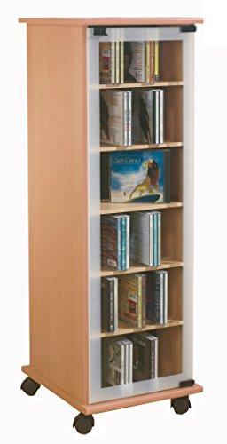 VCM CD DVD Regal Turm Tower Vitrine Schrank Möbel mit Rollen Drehbar Farbwahl 98 x 31 x 35 cm'Valenza'
