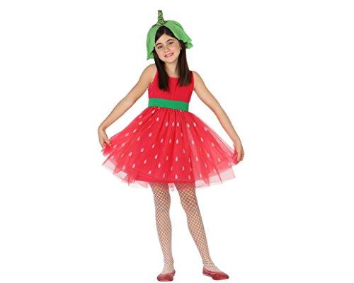 Mädchen Erdbeer Kostüm - ATOSA 28181 Kostüm Zubehör, Rot/Grün, 140