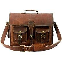 """handolederco 15""""vintage Messenger de piel suave piel maletín bandolera de piel Para Portátil Bolsa de mensajero para Hombres y Mujeres"""