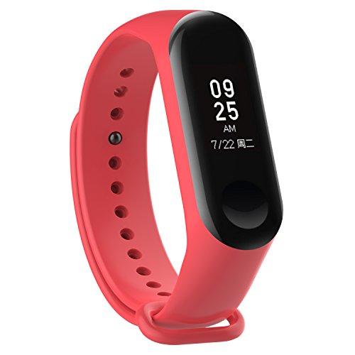 XIHAMA - Correa de Silicona Suave de Repuesto para Reloj Deportivo Inteligente Xiaomi Mi Band 3 (Rojo)