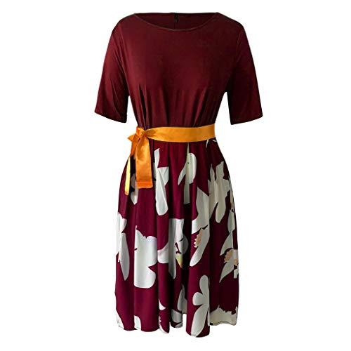 GOKOMO Mode Frauen Plue Größe Sexy O-Neck Print Bow Lace Up gespleißt Kurzarm Kleid(rot,XX-Large) - Shorts Gold Bow Kleid