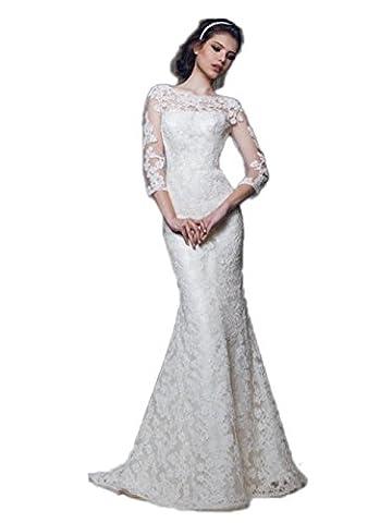 engerla Femme Manches 3/4en dentelle dos ouvert Sirène Gaine maxi robe de mariée - blanc cassé - 40