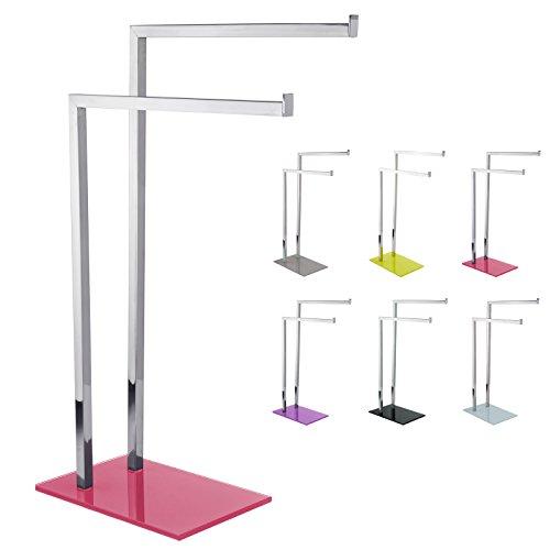 MSV Handtuchständer 'SYDNEY' (LxBxH): ca. 45 x 20 x 69 cm aus Edelstahl und Glas mit 2 Handtuchstangen in Pink