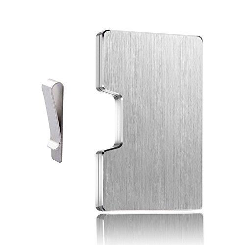 Preisvergleich Produktbild Dlife Aluminum Kreditkartenetui für 1 bis 12 Karten - RFID & NFC Schutz - Portemannaie mit Geldklammer - Smart-Mini-Wallet und Card Holder für Damen und Herren (Silber)