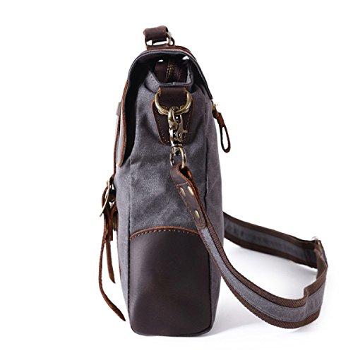 Männer Retro Leinwand Tasche Aktentasche Schulter Reisetasche,Brown LakeBlue