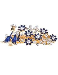 Azul Francia Flor Con Forma De Brillante Estrás Detalle Clip Para Pelo
