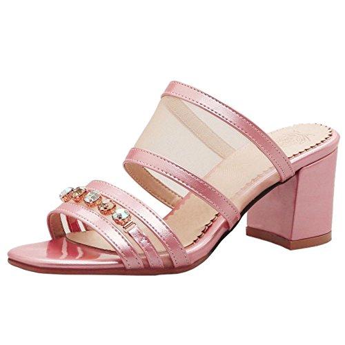 TAOFFEN Damen Mode-Event Open Toe Schlupfschuhe Blockabsatz Open Back Slide Sandalen Pink