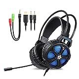 YIMAN Gaming Headset für PS4 PC, Komfortable 3.5mm Surround Stereo Bass Gaming Kopfhörer mit   Mikrofon, LED-Licht für Xbox One, Laptops, Mac, Tablet und Smartphone