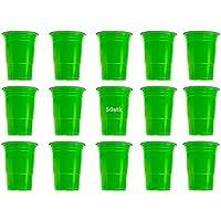 50x Vasos verde vasos desechables, desechables vasos (plástico, 450ml, muy estable