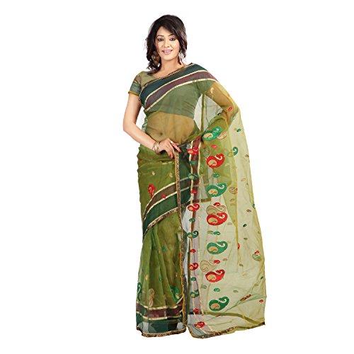 Florence Women's Tissue Saree (FL-15198_Green)