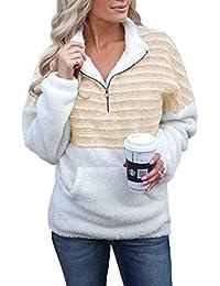 FIYOTE Womens Long Sleeve Zipper Sherpa Sweatshirt Fleece Pullover Outwear Coat with Pockets
