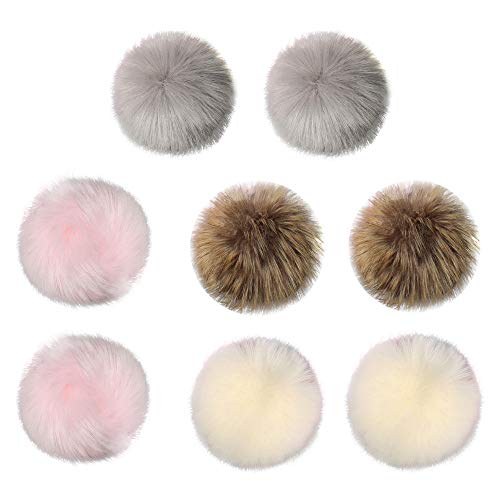 Y56 8 pc DIY Pompon Kunstfell Faux Kunstpelz Pom Pom Ball Kunstfellbommel für Stricken Hüte Zubehör Bommelmütze Schlüsselanhänger Bommel Pelzbommel Fellbommel Pompon