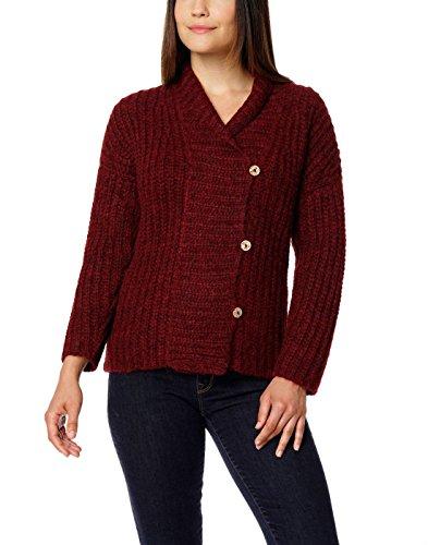 Damen 100% gebürsteter Baby Alpaka Button Cardigan - Rot (Extra Groß)