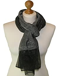 Black Scarf in Polyester Fabric with twin weave Silver lurex panels 858-BL (BLACK)