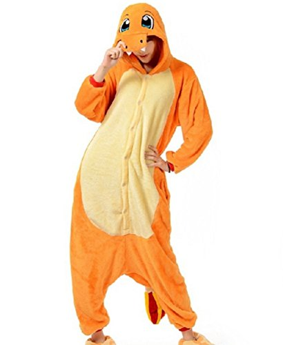 Charmander Adult Men Women Unisex Animal Sleepsuit Kigurumi Cosplay Costume Pajamas Outfit Nonopnd Nightclothes Onesies Halloween Cheap Costume Clothing (S(151CM-161CM)) by COHO