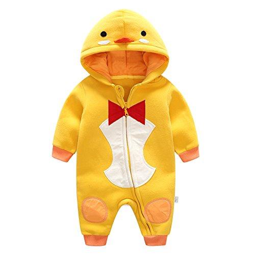 jianfeng Kleinkinder Baby Strampelanzug Tier Jumpsuit Herbst Winter Outfits Infant Hooded Flanell Kostüm, Ente (Baby Cute Ente Kostüme)