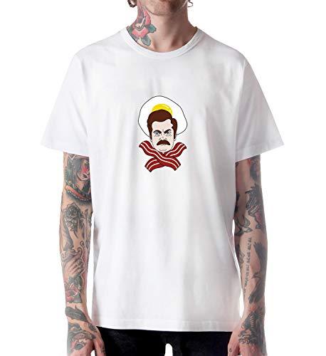 Ron Swanson Bacon Eggs Breakfast Combo Shirt Tshirt for Men Herren Man Male Cotton Present Gift LG White T-Shirt Lg Combo