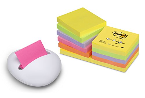Post-it PBL-W12 Z-Notes Spender Stone (inkl. 12 Blöcke Z-Notes á 100 Blatt, neongelb, grün, lila, pink, orange, 76 x 76 mm) weiß