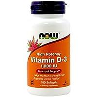 Vitamin D-3, High Potency, 1000 IU, 180 Softgels - Now Foods - UK Seller