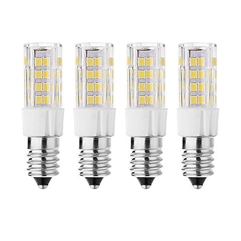 rayhoo 4Base E14Ampoule LED 5W Lumière Led, 512835-smd Chipsets LED, 40W équivalent à une ampoule à incandescence, non compatible avec variateur d'intensité, prévenir Blanc 2800–3200K, 400lm.