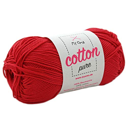 MyOma rote Baumwolle Stricken Cotton Pure rosenrot (Fb 0162)* Baumwollgarn zum Häkeln + GRATIS Anleitung - 1 Knäuel Baumwollgarn rot/rotes Baumwolle - 50g/125m - Nadelstärke 2,5-3,5mm - Baumwollgarn 3 Größe