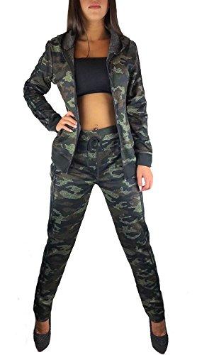 Worldclassca DAMEN CAMOUFLAGE JOGGINGANZUG JOGGING ARMY TRAININGSANZUG MILITÄR TARN JOGGING FITNESS YOGA SPORTANZUG JACKE MIT HOSE SET LANGARM HOODIE BLOGGER S-3XL (XL/XXL 42-46, Camouflage Army Grün)