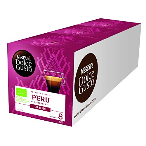 NESCAFÉ Dolce Gusto Peru Espresso |100% biologischer Anbau | Hochland Arabica Bohnen | Bio-Kaffee |Charaktervoller Espresso | Absolut Origin | Aromaversiegelte Kapseln | (3x12 Kapseln) 252g