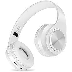 Auriculares inalámbricos Bluetooth, Headphones Plegables con Micrófono, Deportivos Estéreo HiFi Bajos Profundos Compatible con Smartphones, Tabletas, Computadoras, TV / PC de MeihuaTu-Blanco