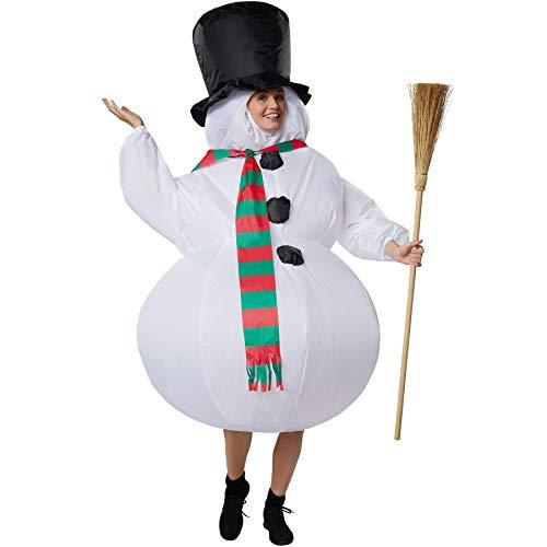 Aufblasbares Unisex Kostüm Schneemann mit Zylinder und Schal ()