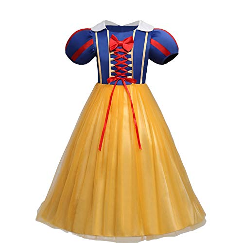 IWEMEK Mädchen Cosplay Kleid Prinzessin Schneewittchen Kostüm Kinder Märchen Kostüme Geburtstag Kleider Karneval Halloween Festival Partykleid Faschingskostüm Fotografie Fancy Dress up 3-4 (Dress Fancy Monate 12-18 Halloween)
