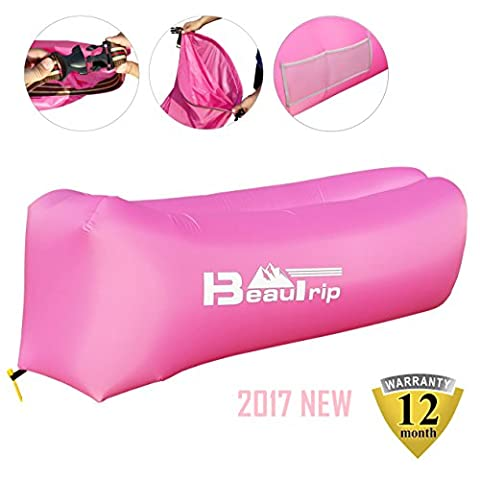 BEAUTRIP 100% Nylon Single Inlet Inflatable Air Lounger Sleeping Bag with Backpack, Pockets, Securing Stake & Bottle Opener - Hammock Ideal for Indoor & Outdoor Camping, Picnics & Musical
