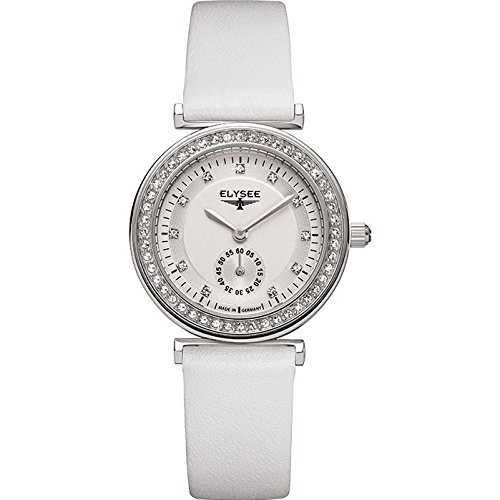 ELYSEE Women's Maia 30mm White Leather Band Steel Case Quartz Silver-Tone Dial Analog Watch 44005