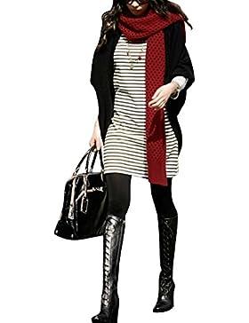 Mujer sección delgada chaqueta de punto Chal larga de la capa suelta Negro