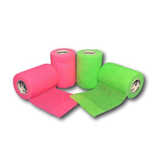 lisacare-fixierbinde-75cmx45m-4er-set-neongrun-neonpink-kohasive-bandage-wundverband-pflasterverband